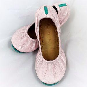 Tieks pink sparkle foldable leather flats EUC